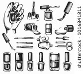 vector set with hand drawn... | Shutterstock .eps vector #1016841811