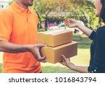 woman hand appending receive... | Shutterstock . vector #1016843794