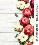 fresh red apples with leaves.... | Shutterstock . vector #1016847124