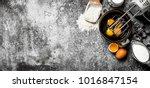 baking background. blend eggs... | Shutterstock . vector #1016847154