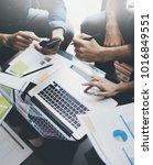 closeup view of teamwork... | Shutterstock . vector #1016849551