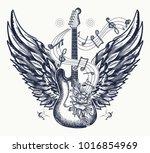guitar tattoo and t shirt design | Shutterstock .eps vector #1016854969