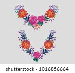 embroidery flower v neck and... | Shutterstock .eps vector #1016856664