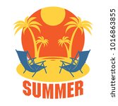 beach vacation poster or banner ... | Shutterstock .eps vector #1016863855