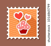 cupcake with two hearts stamp.... | Shutterstock .eps vector #1016865799