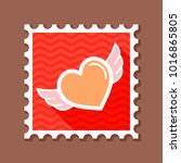 heart with wings stamp.... | Shutterstock .eps vector #1016865805