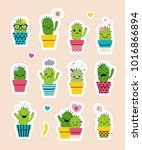 sticker pack with cute cactuses ... | Shutterstock .eps vector #1016866894