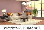 interior living room. 3d... | Shutterstock . vector #1016867011