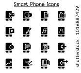 smartphone icon set | Shutterstock .eps vector #1016887429