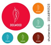 dogwood leaf icons circle set... | Shutterstock .eps vector #1016890525