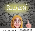 muslim woman wearing hijab get... | Shutterstock . vector #1016901799