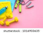 fitness background. equipment... | Shutterstock . vector #1016903635