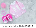 cute pink baby clothes for girl.... | Shutterstock . vector #1016903917