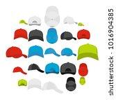 baseball cap views icons set.... | Shutterstock .eps vector #1016904385