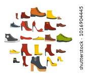 footwear shoes icon set...   Shutterstock .eps vector #1016904445