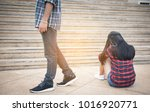stressed couple on the ladder... | Shutterstock . vector #1016920771
