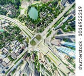 aerial city view with... | Shutterstock . vector #1016922319