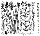 set of black and white doodle... | Shutterstock .eps vector #1016923054
