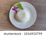 cooked rice on white dish...   Shutterstock . vector #1016923759