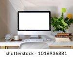 mockup desktop computer  coffee ...   Shutterstock . vector #1016936881
