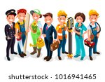 labor day. vector worker group... | Shutterstock . vector #1016941465
