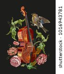 embroidery violin  birds and... | Shutterstock .eps vector #1016943781