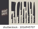 set of knives. kitchen... | Shutterstock .eps vector #1016945707
