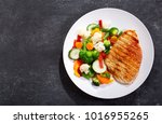 plate of grilled chicken with... | Shutterstock . vector #1016955265