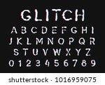 glitch font. digital alphabet... | Shutterstock .eps vector #1016959075