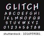 glitch font. digital alphabet... | Shutterstock .eps vector #1016959081