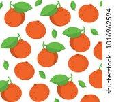 mandarins vector pattern | Shutterstock .eps vector #1016962594