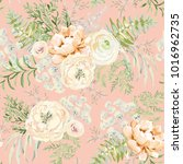 blush apricot spring bouquets... | Shutterstock .eps vector #1016962735