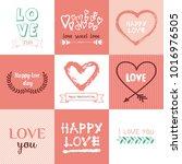 set of doodle elements. hearts  ... | Shutterstock .eps vector #1016976505