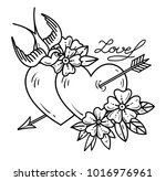 tattoo heart with arrow. two... | Shutterstock .eps vector #1016976961