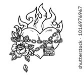 tattoo flaming heart bound by... | Shutterstock .eps vector #1016976967