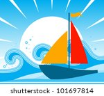 vector sailboat floating on the ... | Shutterstock .eps vector #101697814