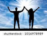happy man and woman holding... | Shutterstock . vector #1016978989