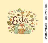 cute easter holiday banner in... | Shutterstock .eps vector #1016993401