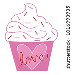 happy valentines day cupcake | Shutterstock .eps vector #1016993935
