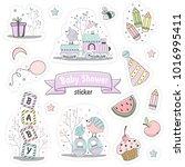 set of baby shower stickers.... | Shutterstock .eps vector #1016995411