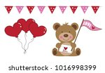 valentines day bear and balloons | Shutterstock . vector #1016998399