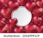 bunch of glossy heart balloons. ... | Shutterstock .eps vector #1016999119