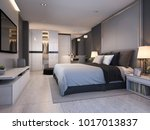 Stock photo  d rendering modern luxury bedroom suite at night with cozy design 1017013837