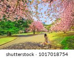 unidentified woman relaxes... | Shutterstock . vector #1017018754