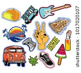 punk rock fashion patches... | Shutterstock .eps vector #1017020107