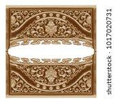 pattern of wooden frame flower...   Shutterstock . vector #1017020731