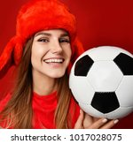 russian style fan sport woman... | Shutterstock . vector #1017028075