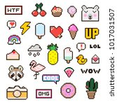 vector patch set   pixel 80s... | Shutterstock .eps vector #1017031507
