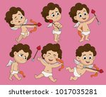 set of difference pose cute... | Shutterstock .eps vector #1017035281