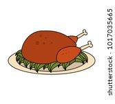 roast chicken food | Shutterstock .eps vector #1017035665